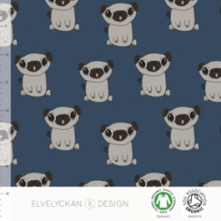 French terry print  Pug donker blauw ( 015)