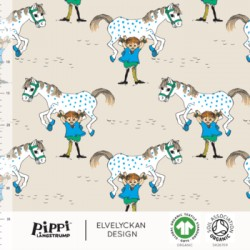 Jersey print Pippi horse creme (027)