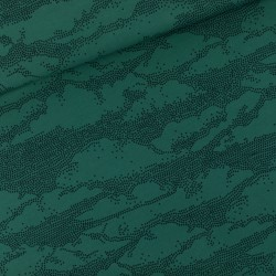 French terry print Clouds Bistro green (SYat S)