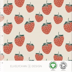 Jersey print Strawberry print creme (027) ELV.