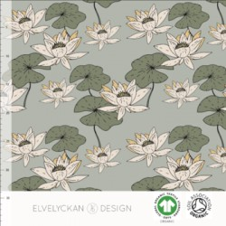 Jersrey print Waterlilies sage (055)
