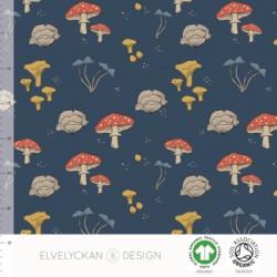Jersey print Mushrooms dark blue (015)