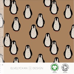 French terry print Penquin Toffee (057)